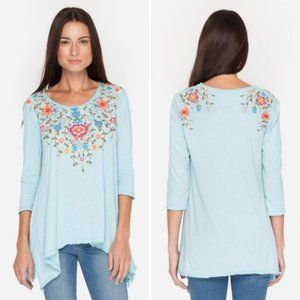 Johnny Was BOHO Blouse 3/4 Sleeves Embroidered